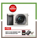 (SALES) Sony A6000 Mirrorless Digital Camera with 16-50mm Lens (Silver) (Free Sony 16GB & Extra Original Battery ) (Sony Malaysia)